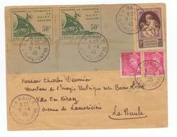 Loire Atlantique Lettre La Baule Paire Attachée Timbres Timbre Chambre Du Commerce , ÎLOT DE SAINT NAZAIRE - 1945 - Marcophilie (Lettres)