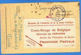Prisonnier De Guerre, Accusé De Réception De Colis  Via Croix Rouge De Verviers, En Franchise, Verviers 1943 - Lettres