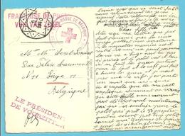 Kaart (Paris) Met DIAMANT-stempel Op 6/08/1940 + Stempel CROIX-ROUGE DE BELGIQUE - Covers