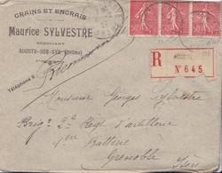 Pli Recommandé 1927 De Aouste Sur Sye Drome - Marcophilie (Lettres)