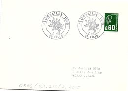 FLEURS FLORALIES - FLORALILLE 1975 - 7 NOV. LILLE 59  / 1 - Marcofilia (sobres)