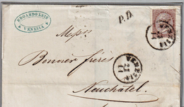 Sovracoperta Da Veneza A Neuchatel/Svizzera Affrancata Con 1 Francobollo Da 30 Cent./Torino (05429) - 1861-78 Vittorio Emanuele II