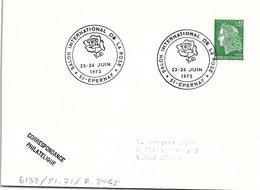 FLEURS FLORALIES - SALON INTERNATIONAL DE LA ROSE - 23-24 JUIN 1973 EPERNAY 51   / 1 - Marcofilia (sobres)