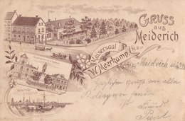 Gruss Aus Meiderich, Kaisersaal W. Meerkamp. Kaiserdenkmal, Rathaus, Kaiserhafen. Soldatenbrief 1898. - Duisburg