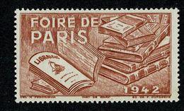 !! 1942 FOIRE DE PARIS  Section LIBRAIRIE ** Sans Charnière Gomme Intacte Vignette De Qualité  !! - Other