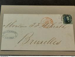 Lettre, 1851, Cache Anvers Et Bruxelles Avec Timbre 20c - 1849-1865 Medallions (Other)