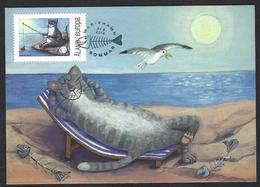 Åland 2014;  Fishing Cat, Gatto Pescatore, Pêche Au Chat, Katzenfischen: Maximum  Card – Postage Paid. - Gatti