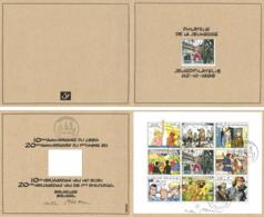 Belgium 1999 COB BL 81 Mi. Sheetlet 2893-2901 Document Gent 17-Jan-2004, Comics Corentin Hergé Jijé Sirius - Bandes Dessinées