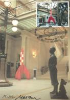 Belgium 1999 COB 2845 Mi. 2897 MC CM Maximum Card, Entrance Of Brussels Comics Center, Rocket Tintin Kuifje Hergé - Cartes-maximum (CM)
