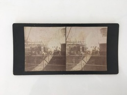 Fin 19ème Siècle 1888 Photo Carte Stéréoscopique Paquebot LE CONGO Escalier Et Dunette à Bordeaux - Paquebots