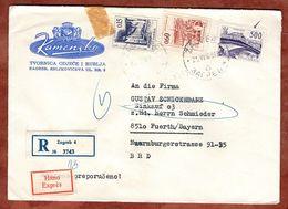 Eilboten Expres, Einschreiben Reco, Illustrierter Umschlag Loewen, Technik, Zagreb Nach Fuerth 1968 (93635) - Covers & Documents