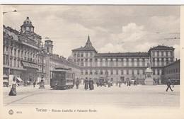 TORINO-PIAZZA CASTELLO E PALAZZO REALE-TRAM N.168(CORSO VINZAGLIO)CARTOLINA NON VIAGGIATA -ANNO 1910-1920 - Piazze