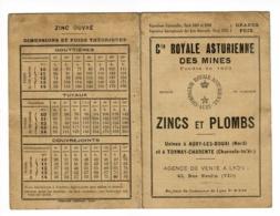 """Dépliant 2 Volets """"Cie Royale Asturienne Des Mines"""" Tableau Dimensions & Poids Théoriques Zincs & Plombs - Auby (59) - Old Paper"""