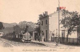 PHOTO: Marseille: La Bourine, La Bouilladisse, La Gare, Train à Vapeur, Photo D'une Ancienne Carte Postale, 2 Scans - Lieux