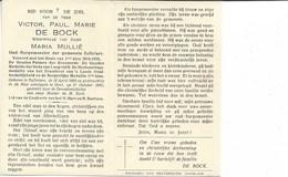Burgemeester, V. De Bock °Zaffelare 1868-04-26 + Gent 1950-10-31, 2 Scans - Religion & Esotérisme