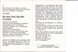 Burgemeester, O.De Keyzer °Zaffelare 1893-09-12 + Gentbrugge 1975-08-11 - Religion & Esotérisme