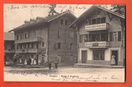 ZAA-26 RARE  Morgins   Bazar Et Boucherie  TRES ANIME. Dos Simple. Circulé 1906 - VS Valais