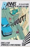 RENNES SECURITE ROUTIERE - Claude Mirande - ILLUSTRATION, AUTOMOBILE, SCOOTER - Autocollant 7x10.5 TBon Etat (voir Scan) - Autocollants