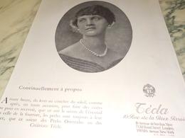 ANCIENNE PUBLICITE CONTINUELLEMENT A PROPOS  COLLIERS  TECLA 1924 - Joyas & Relojería