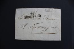 1821 LAC BORDEAUX 32 MARQUE LINEAIRE ,COURRIER DATE DU 04/01/1821 TAXE MANUSCRITE 4 DECIMES POUR FONTENAY VENDEE - 1801-1848: Vorläufer XIX