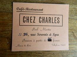 SPA:CARTE PUBLICITAIRE DU CAFE RESTAURANT CHEZ CHARLES -PAUL MARTIN-33 RUE DERVAIS A SPA - Advertising