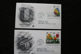 United States Two Garden Flowers Hyacinth Daffodil Tulip Day Of Issue 1993 A04s - Premiers Jours (FDC)