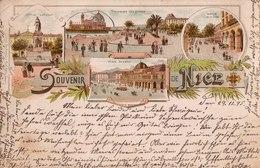 Souvenir De Nice. Avenue De La Gare, Promenade Des Anglais, Place Masséna, Statue Garibaldi, 1895. - Squares