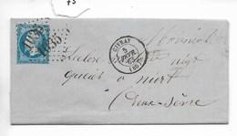 Lettre Napoléon 20 C Non Dentelé, Losange Gros Chiffres 1035 Civray Vers Niort 1863 - 1849-1876: Période Classique