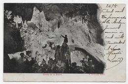(RECTO / VERSO) GROTTE DE LA BALME AVEC PERSONNAGES  EN 1903 - BEAU CACHET - CPA PRECURSEUR - La Balme-les-Grottes