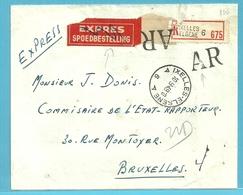 696+768 (x2) Op Aangetekende-AR-EXPRES  !!!!! Brief, Cirkelstempel ELSENE Op 10/9/49 - 1948 Export