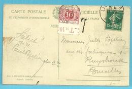 """Postkaart Verzonden Van France, Met Taxe TX 5 Met Bladboord """"C-Tde10C"""", Met Cirkelstempel RUYSBROECK Op 18/9/1911 (RARE) - Postage Due"""