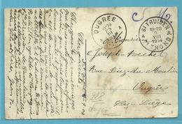 Postkaart Verzonden Van ST-TRUIDEN Op 9/8/1914 (offensief W.O. I)  > OUGREE Op 25/3/1915 !!  228 Dagen Onderweg ! Rare ! - WW I