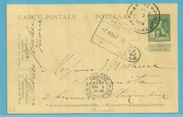 Entier Met Cirkelstempel ANTWERPEN 6A Op 3/8/1914, + Spoorwegstempel HOVE Op 7/8/1914 (2e Dag Oorlog) !!!! - WW I