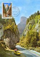 Romania - Maximum Postcard,maxicard 1977 -  Geology -  Bicaz Gorges - Geology