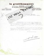 75 - Paris - PARIS-6e - Facture LA GENTILHOMMIERE - Créations De Meubles D'art En Chêne Plein - 1938 - REF 150A - 1900 – 1949