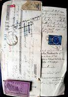 TIMBRES FISCAUX ET COPIES SUR LETTRE ET QUITTANCE 50C  ET 10 C - Poststempel (Briefe)