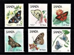 Samoa 1986 Butterflies Set Of 6 Mint No Gum - Samoa