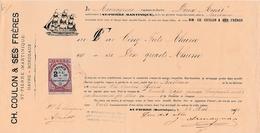 """1891 - St PIERRE (Martinique)-BORDEAUX - Connaissement Navire """"Deux Amis""""  Futs De RHUM - Documents Historiques"""