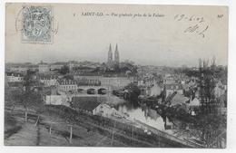 SAINT LO EN 1907 - N° 5 - VUE GENERALE PRISE DE LA FALAISE - PLIS BAS A DROITE - CPA VOYAGEE - Saint Lo