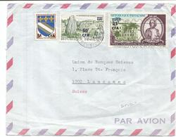 CFA BLASON 5FR TROYES +50FR CARNAC +35FR NAPOLÉON DEVANT LETTRE AVION ST DENIS 1970 REUNION  POUR SUISSE - Réunion (1852-1975)