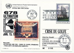 ONU - Carte Postale (entier) - Crise Du Golfe / Irak Koweit... 15 Janvier 1991 - New York -  VN Hauptquartier