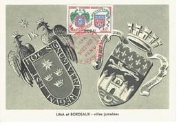 CARTE MAXIMUM  EXPO FRANCAISE A LIMA 1957 - Peru