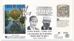 ONU - Enveloppe - Crise Du Golfe  Rencontre James Baker / Tarek Aziz - 9 Janvier 1991 - New York -  VN Hauptquartier