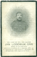 WO1 / WW1 - Doodsprentje Oris Jan Lodewijk - Arendonk / Moorslede - Gesneuvelde - Décès