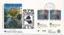 ONU - Enveloppe - Crise Du Golfe  678 ULTIMATUM Irak Koweit - 15/01/1991 - Genf - Büro Der Vereinten Nationen