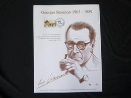 "BELG.1994 2579 FDC Filatelic Gold Card NL.version N° 142/500 : "" GEORGES SIMENON "" - FDC"