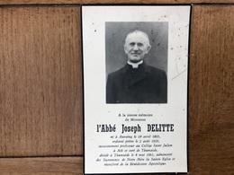 Abbe Joseph Delitte *18@5 Anvaing Professeur Collège St Julien Ath Thumaide +1961 Photo Imp Saint-sauveur - Décès