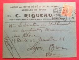 Enveloppe Agence Des Motos Dé Dé Et Cycles Payan Avec Cachet Daguin D'Arles Sur Rhone - 1921-1960: Modern Period