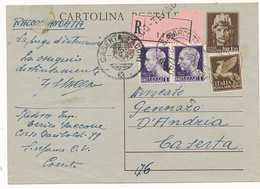 1945 LUOGOTENENZA BELLA CARTOLINA POSTALE RACCOMANDATA 3 EMISSIONI - Storia Postale