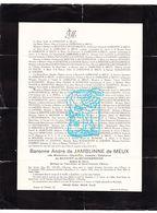 DB Adel Noblesse - Madeleine D Meester D Betzenbroeck ° Elewijt Zemst 1893 † Brussel 1938 X André D Jamblinne D Meux - Décès